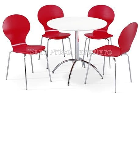Kimberley Dining Set White & 4 Red Chairs Sale Now On Your Price Furniture