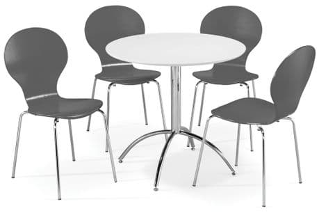 Kimberley Dining Set White Table & 4 Slate Grey  Chairs Sale Now On Your Price Furniture