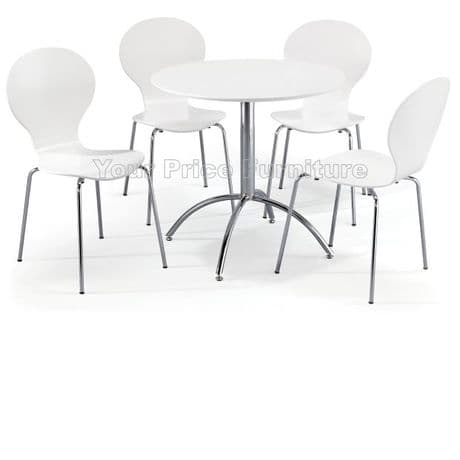 Kimberley Dining Set White Table & 4 White Chairs Sale Now On Your Price Furniture