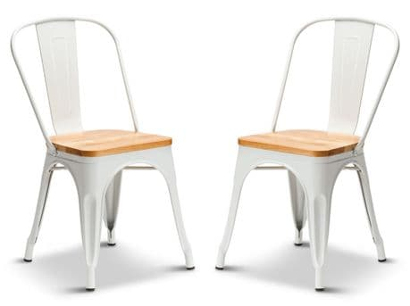 Pair of 2 Matt White With Oak Seat Metal Industrial Tolix Style Dining Chairs 1/2 Price Deal