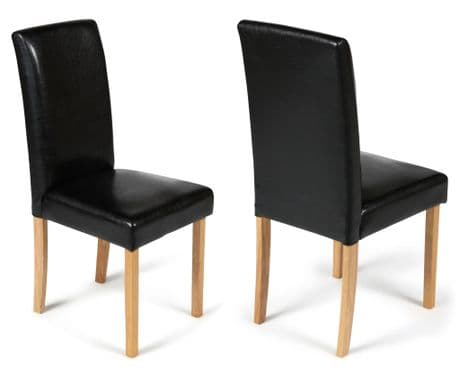 Torino Black Faux Leather Dining Chairs  1/2 price Sale Now On Your Price Furniture