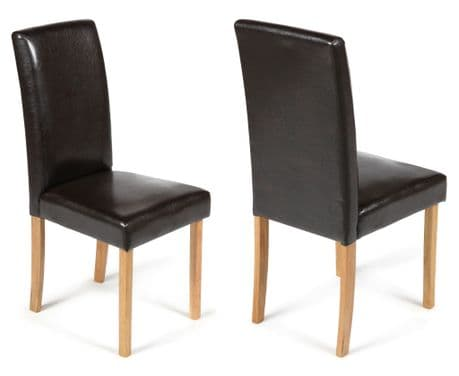 Torino Brown Faux Leather Dining Chairs  1/2 price Sale Now On Your Price Furniture