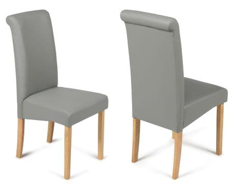 Roma Matt Grey Faux Leather Dining Chairs with Oak Legs 1/2 price Sale Now On Your Price Furniture